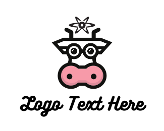 Dairy - Cow Milk Atom logo design
