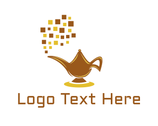Genie - Digital Magic Lamp logo design
