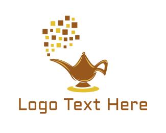 Aladdin - Digital Magic Lamp logo design