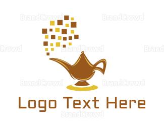 Magic - Digital Magic Lamp logo design