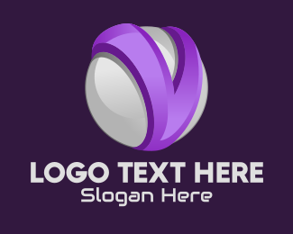 Online Game - 3D Sphere Letter V logo design