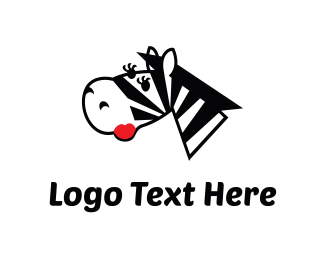 Feminine - Female Zebra Cartoon logo design