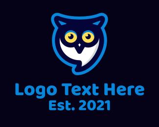 Message - Owl Messaging App logo design