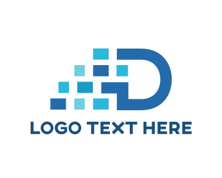 Dallas - Blue Pixel D logo design