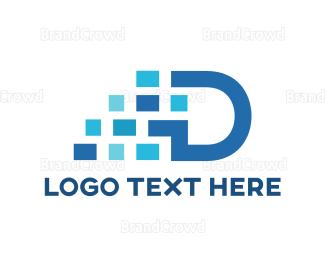 Freight - Blue Pixel D logo design