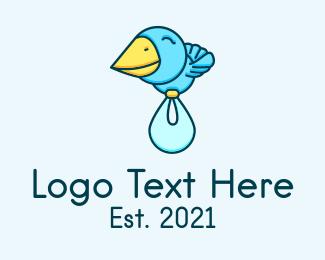 Baby Bird - Baby Delivery Bird logo design