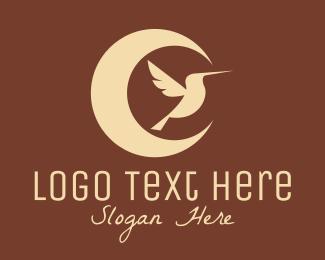 Hummingbird - Moon Hummingbird logo design
