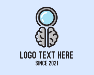 Investigator - Brain Magnifying Glass logo design