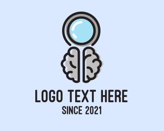 Detective - Brain Magnifying Glass logo design