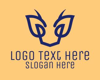 Gazelle - Blue Abstract Deer  logo design
