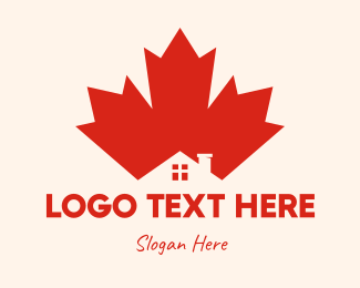 Maple - Red Maple Leaf House logo design
