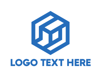 Gold Hexagon - Blue Abstract Hexagon Cube logo design