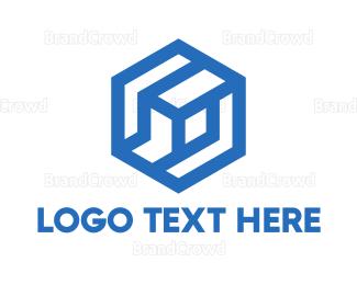 Company - Blue Abstract Hexagon Cube logo design