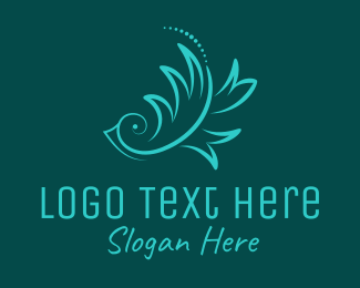 Songbird - Blue Ornamental Bird  logo design