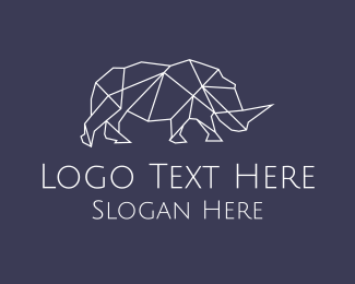 Wildlife Conservation - Geometric Rhinoceros logo design