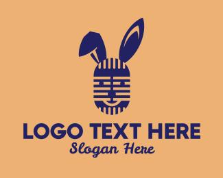 Microphone - Rabbit Microphone logo design