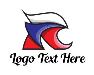 French - Red White Blue R logo design