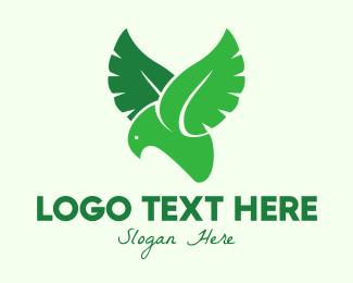 Yellow Eagle - Green Eco Bird logo design