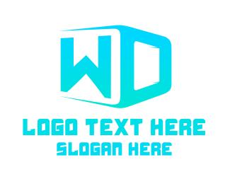 Blue Box - W & D logo design