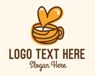 Coffee Lover - Heart Coffee Cup logo design