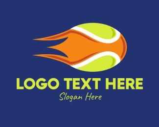 Tennis Equipment - Blazing Tennis Ball logo design