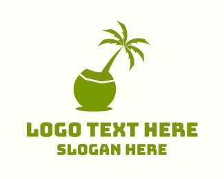 Coconut Tree - Island Coconut Tree logo design