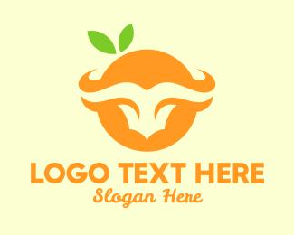 Bull Horns - Orange Bull Horns logo design