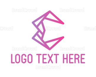 Design - Pink Geometric E  logo design