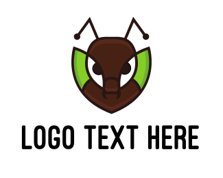 Green Bug - Ant Leaf logo design