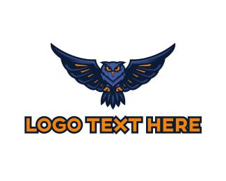 Nocturnal - Blue Owl Gaming logo design
