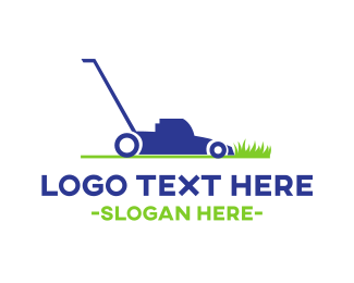 Grass - Blue Lawnmower  logo design