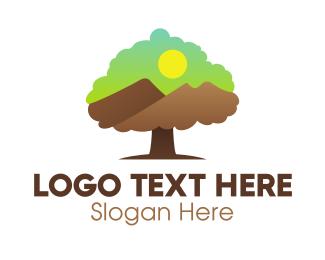 Mountain Tree Landscape Logo