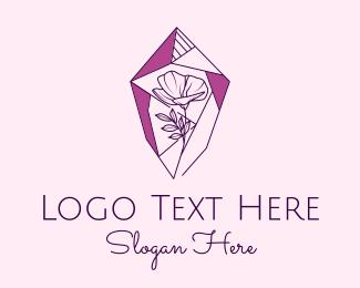 Crystal - Purple Flower Crystal logo design