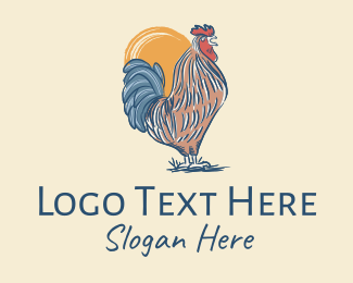 Poultry Farm - Rustic Rooster Chicken  logo design