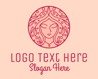 Skincare - Pink Floral Woman Hair Spa logo design