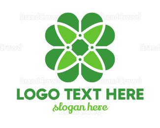 Organic Food - Green Clover Flower logo design