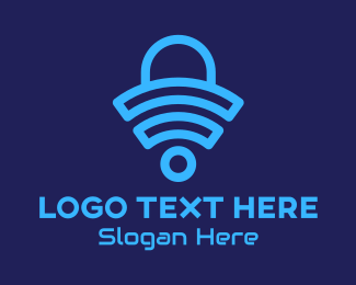 Cybersace - Blue Wifi Shopping Bag logo design
