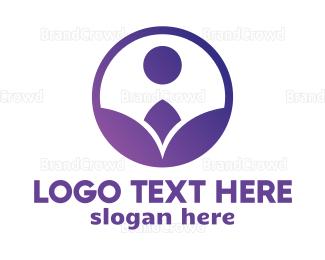 Botanical - Violet Flower Circle logo design