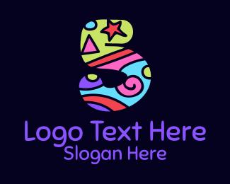 Number 5 - Colorful Shapes Number 5 logo design