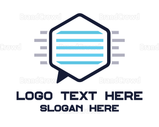 Communicate - Hexagon Chat logo design