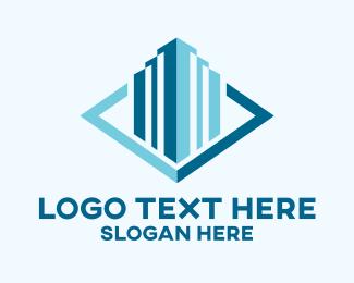 Blue Real Estate Skyscraper Logo