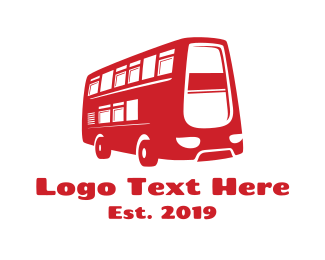 Bus - Double Deck Bus logo design