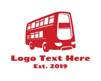 Road Trip - Double Deck Bus logo design