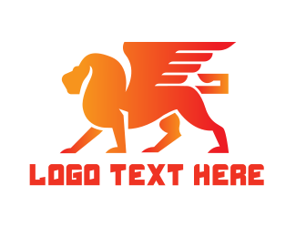 Winged - Orange Winged Lion logo design