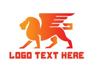 Orange And Red - Orange Winged Lion logo design
