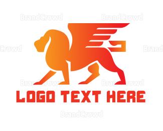 Creature - Orange Winged Lion logo design