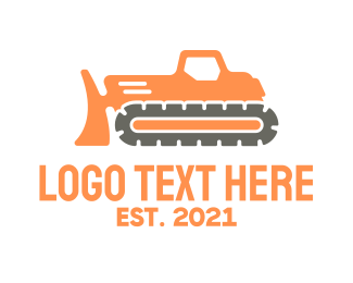 Bulldozer - Modern Bulldozer Machine logo design