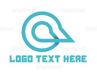 Outlines - Blue Chat  logo design