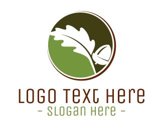 Oak - Oak Leaf Nut  logo design
