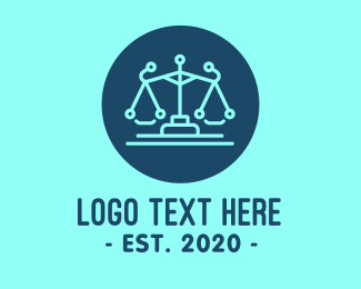 Legal Attorney Law Scales Technology Logo Maker